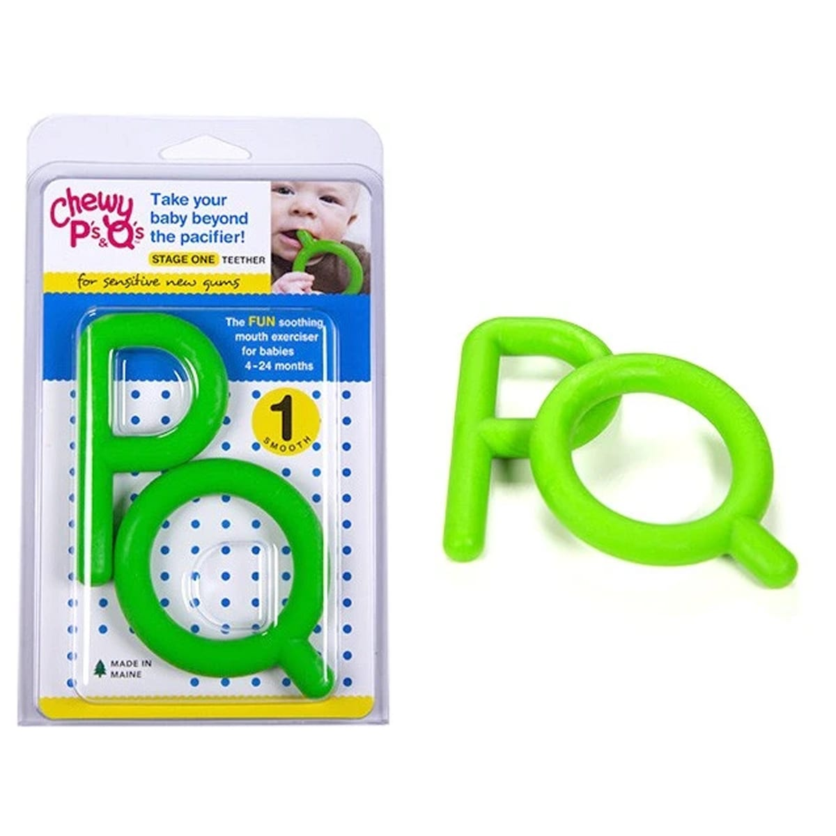 PS & QS - GREEN- STAGE 1 TEETHER - CHEWY TUBE